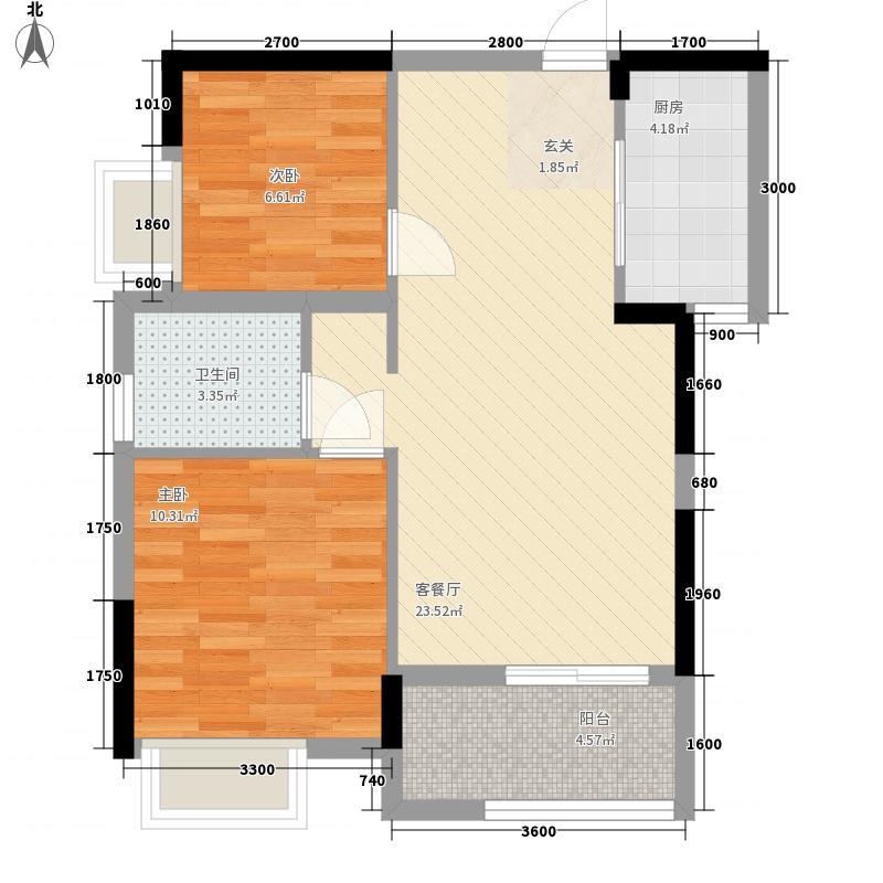 纽宾凯汉city国际社区76.00㎡K9地块2号楼C1户型2室2厅1卫1厨