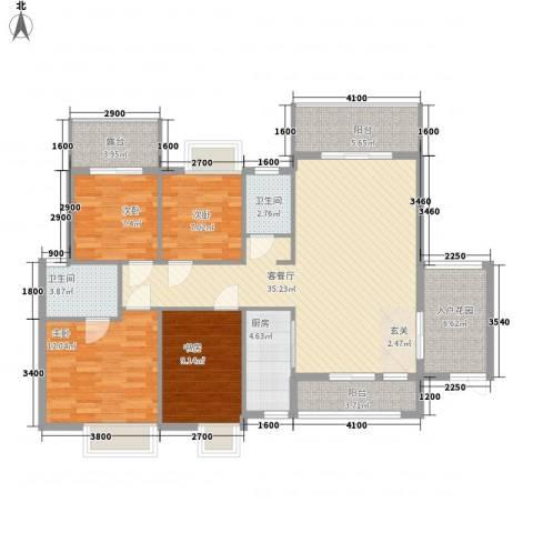 泰和・中央公园4室1厅2卫1厨124.00㎡户型图