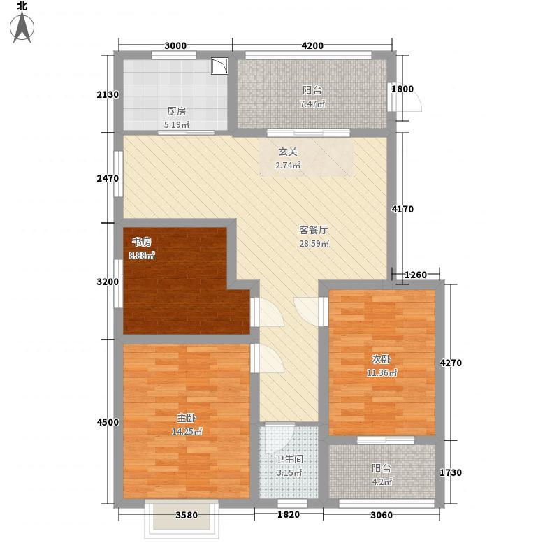 龙胤财富广场11311.27㎡10-13#楼A1户型3室2厅1卫1厨