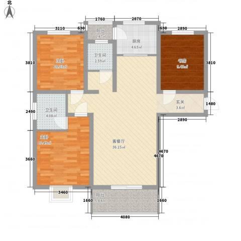 鼎盛・帕堤欧3室1厅2卫1厨125.00㎡户型图