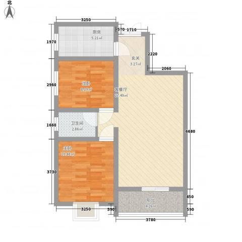 鼎盛・帕堤欧2室1厅1卫1厨85.00㎡户型图