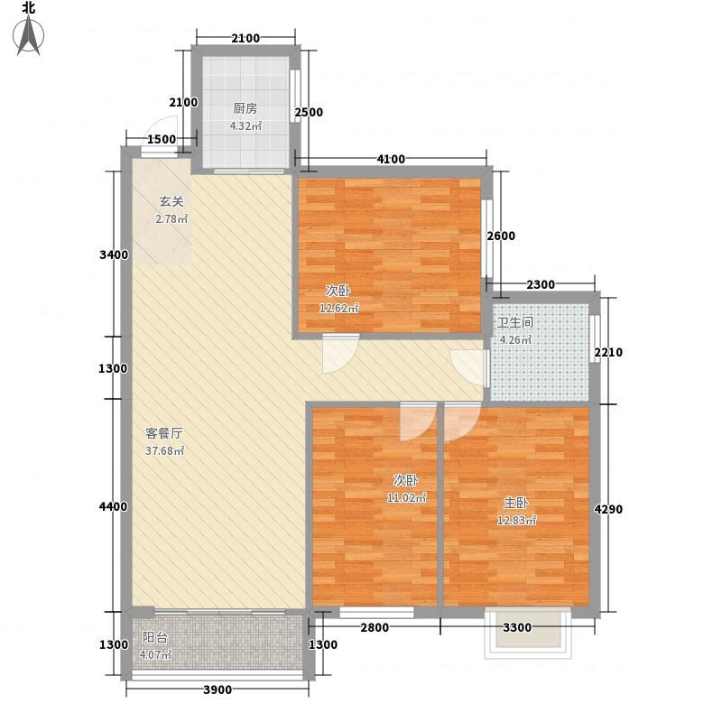 依山美郡112.51㎡A栋06号户型3室2厅1卫1厨