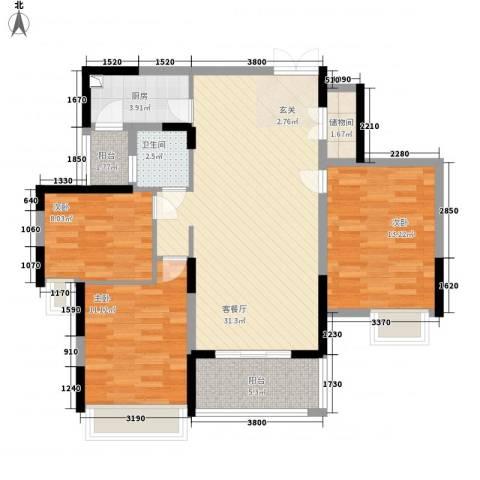 御天城跃龙苑3室1厅1卫1厨114.00㎡户型图