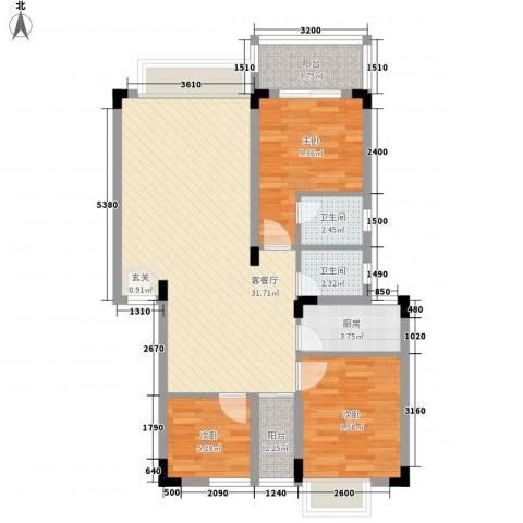 易筑3室1厅2卫1厨70.46㎡户型图