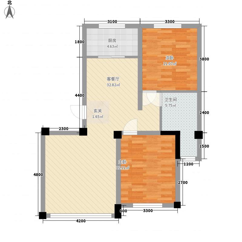 公园道1号户型2室2厅1卫1厨