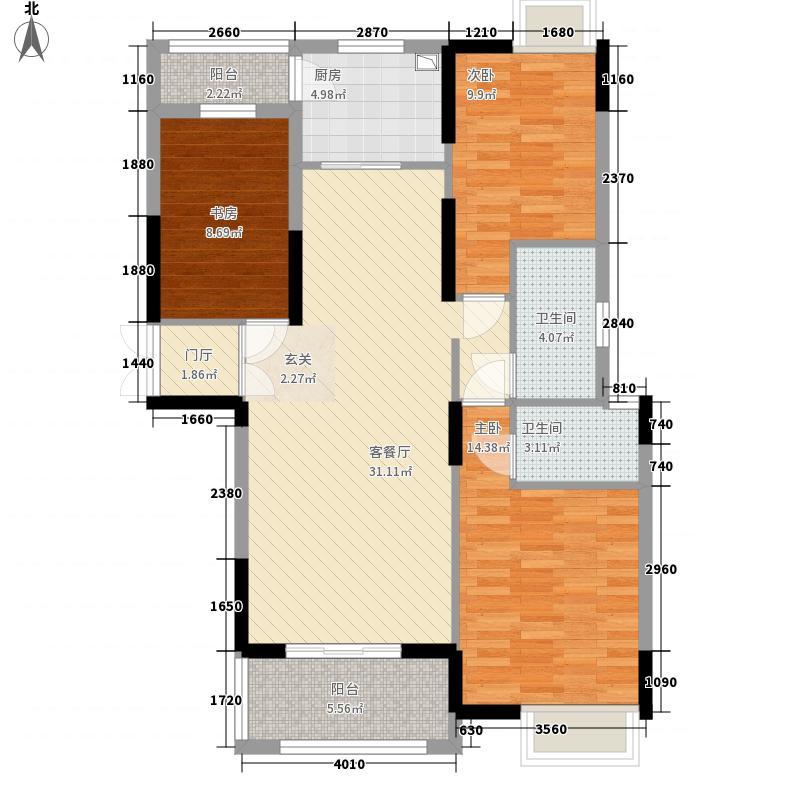 御天城跃龙苑123.26㎡B2户型3室2厅2卫1厨