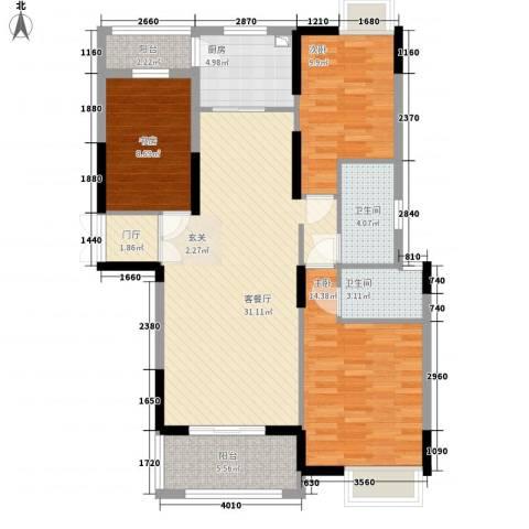 御天城跃龙苑3室1厅2卫1厨123.00㎡户型图