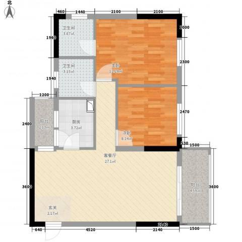 中央公馆2室1厅2卫1厨81.00㎡户型图