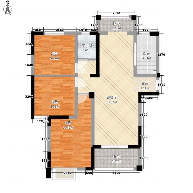 中旭都市名苑116.30㎡D4户型3室2厅1卫1厨