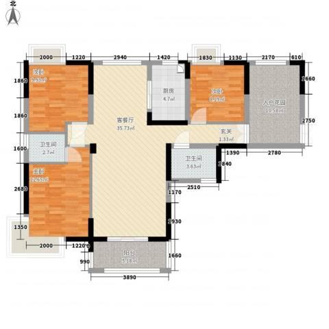 御天城跃龙苑3室1厅2卫1厨134.00㎡户型图