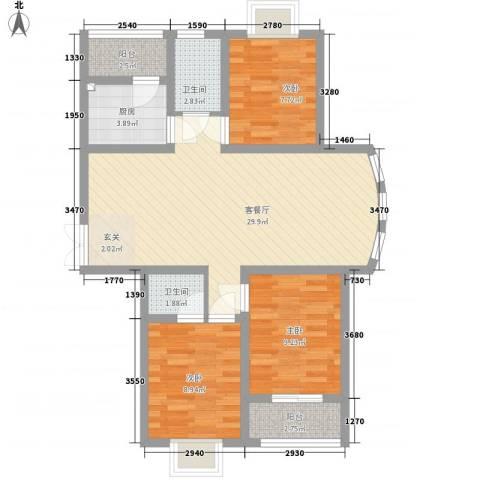 旺旺家缘3室1厅2卫1厨102.00㎡户型图