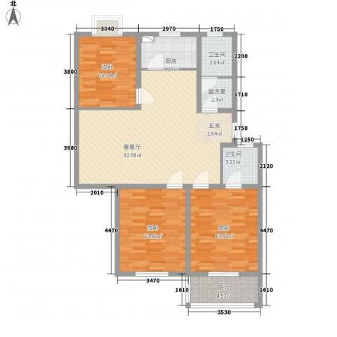 旺旺家缘3室2厅2卫1厨125.00㎡户型图