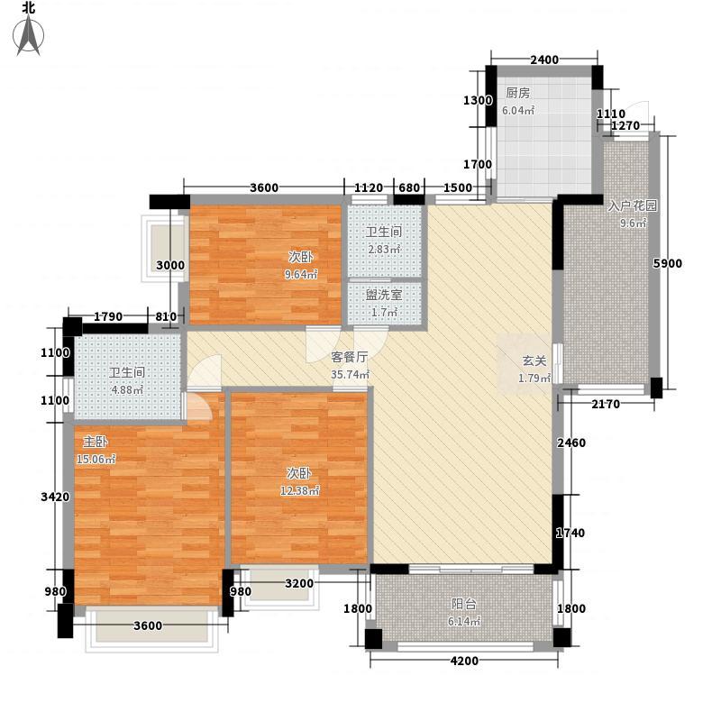 博达新桂城128.27㎡B户型3室2厅2卫1厨