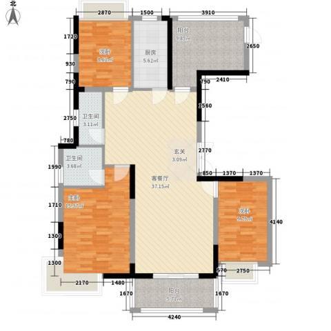御天城跃龙苑3室1厅2卫1厨98.89㎡户型图