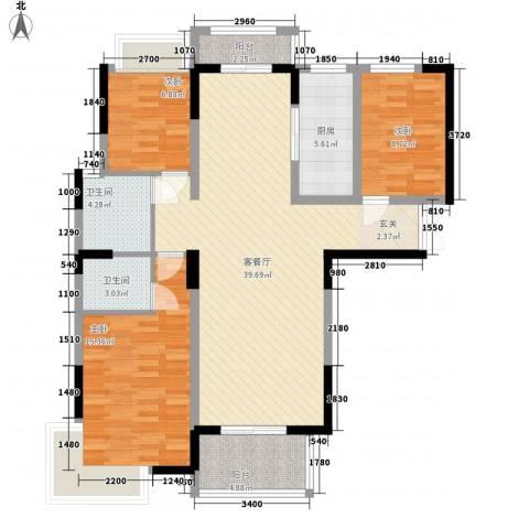 御天城跃龙苑3室1厅2卫1厨131.00㎡户型图
