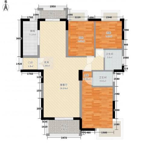 御天城跃龙苑3室1厅2卫1厨128.00㎡户型图