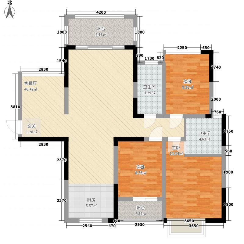 凯旋・湖景水岸123.44㎡7B户型3室3厅2卫1厨