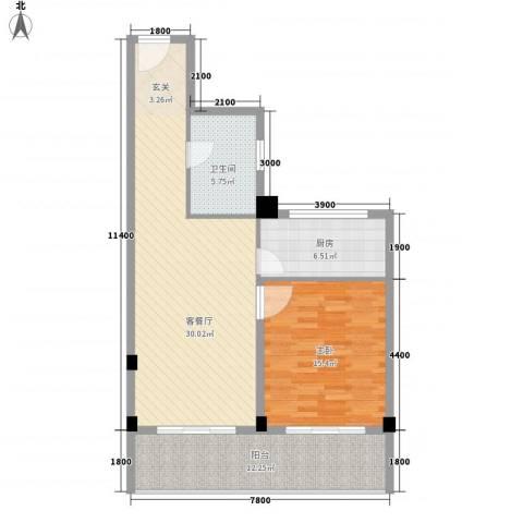 上谷居1室1厅1卫1厨84.00㎡户型图