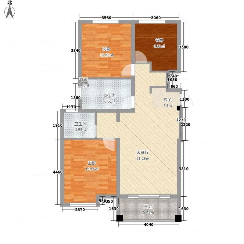 辰兴文教城五期115.00㎡D1户型3室2厅1卫1厨