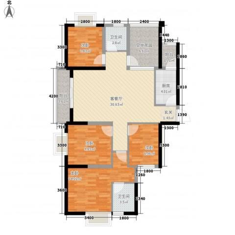 创森财富中心4室1厅2卫1厨126.00㎡户型图