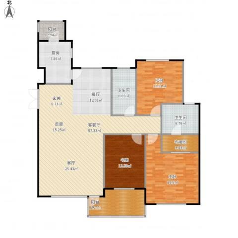 豪森茗家3室1厅2卫1厨186.00㎡户型图