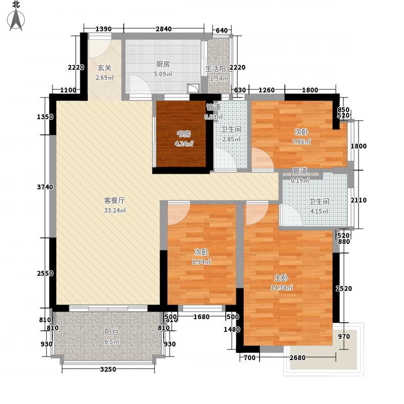 安康・金海湾125.00㎡2幢04+05、16+1/3幢04+05、12+1户型4室2厅2卫1厨