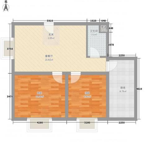 颐美会现代城2室1厅1卫1厨81.00㎡户型图