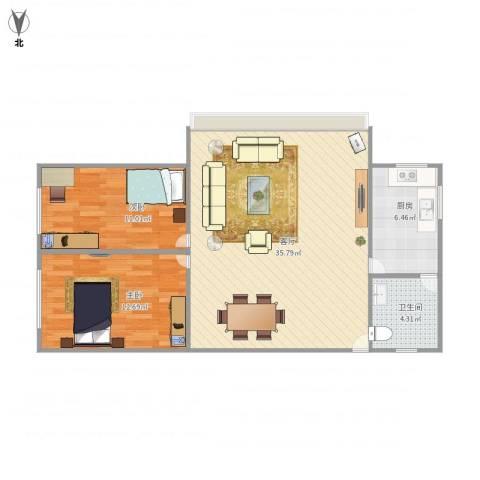 昌盛小区2室1厅1卫1厨93.00㎡户型图