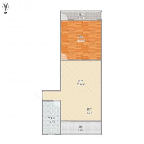 七里堡新居1室1厅1卫1厨100.00㎡户型图