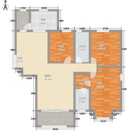 中汇城・御园3室1厅2卫1厨157.00㎡户型图