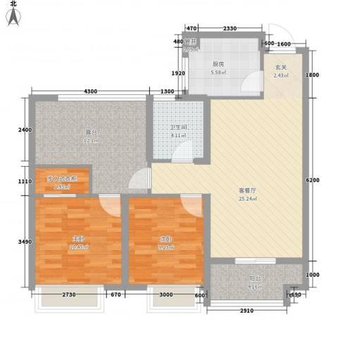 星河湾2室1厅1卫1厨104.00㎡户型图