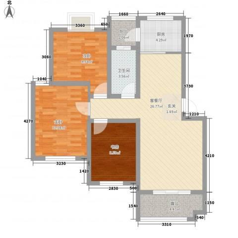 春江花园3室1厅1卫1厨83.30㎡户型图