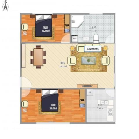 万豪花园2室1厅1卫1厨106.00㎡户型图