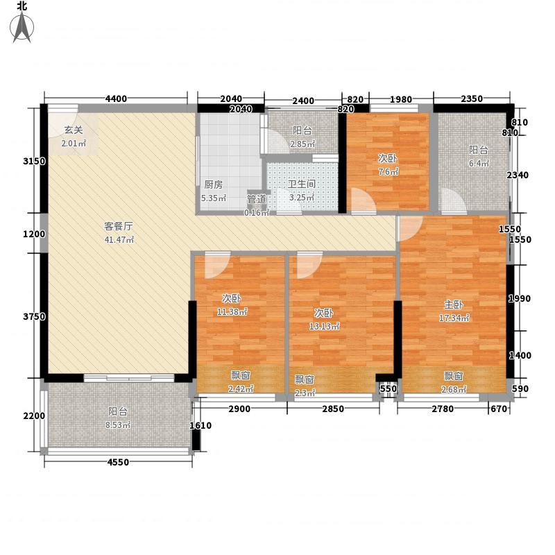 兆兴碧瑞花园138.00㎡3/4座01户型2厅2卫