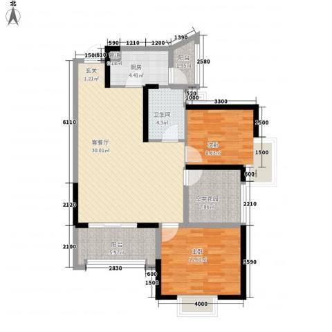 天湖御林湾2室1厅1卫1厨75.93㎡户型图
