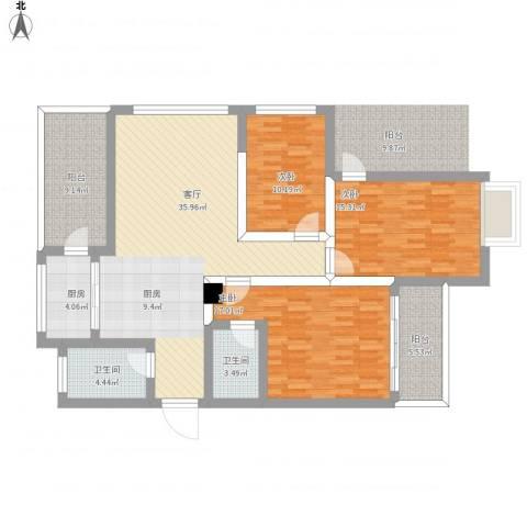 锦绣家园18楼3室1厅2卫1厨156.00㎡户型图