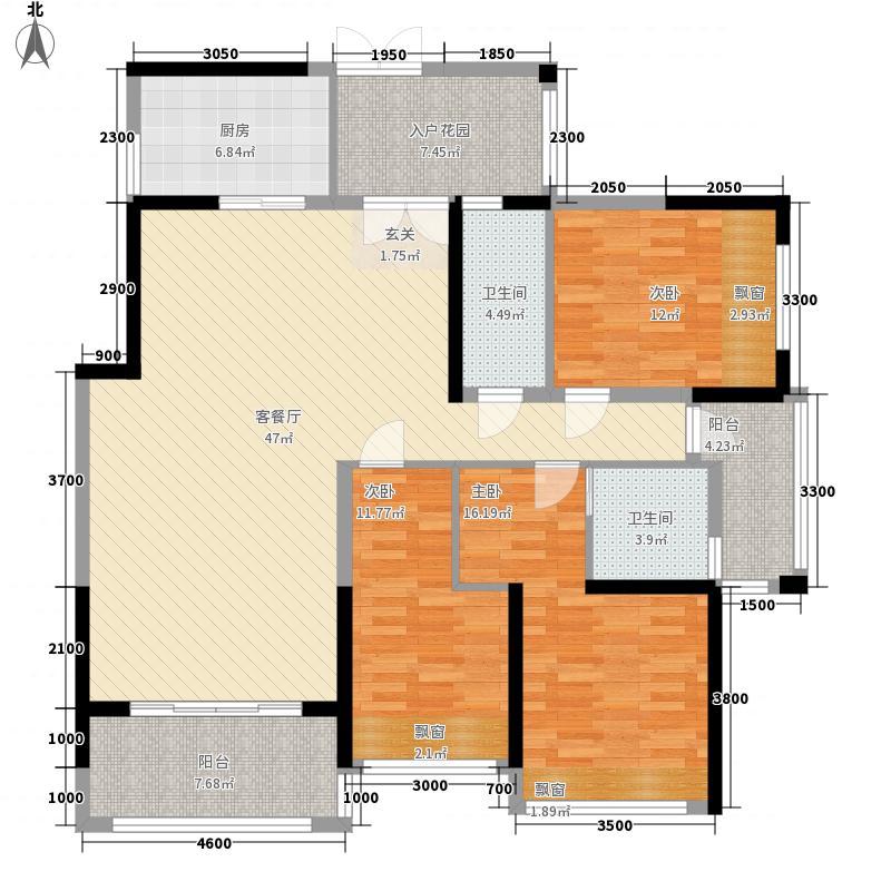合富花园14.85㎡6#标准层C户平面图户型3室2厅2卫1厨