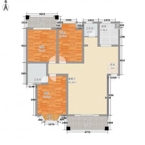 君尚一品・水云间3室1厅2卫1厨157.00㎡户型图