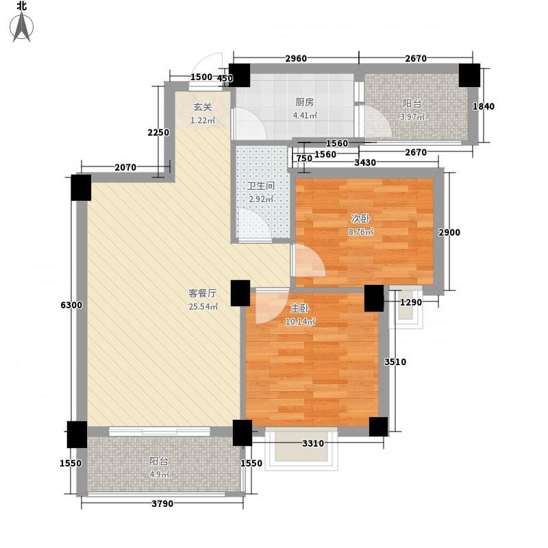 远洋・滨海国际75.22㎡御林组团I#02户型2室2厅1卫1厨