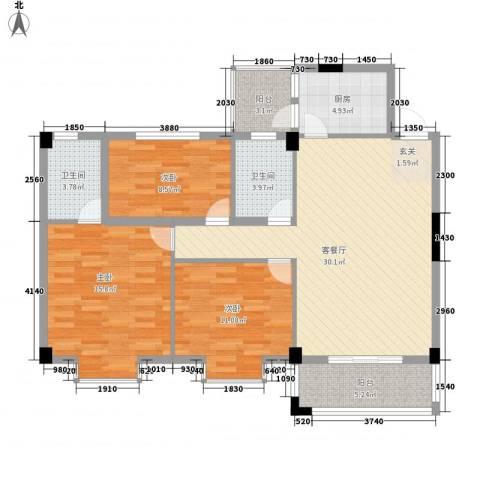 盈峰尚苑3室1厅2卫1厨122.00㎡户型图