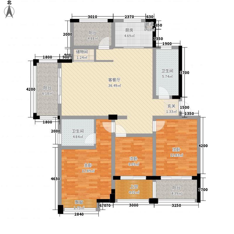 金厦・银湖城11.00㎡H户型3室2厅2卫1厨