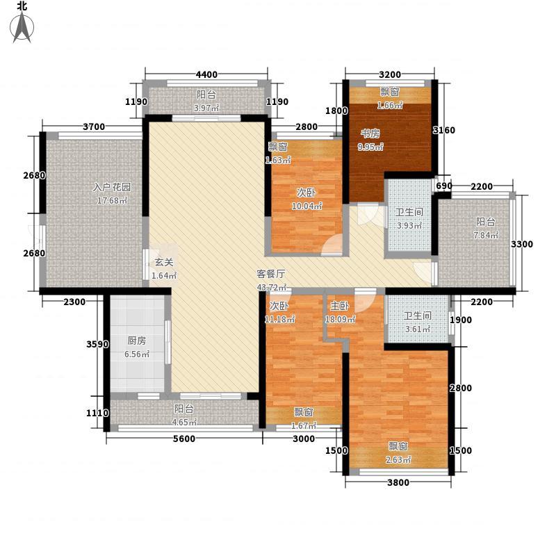 合富花园153.40㎡6#标准层A户平面图户型4室2厅2卫1厨