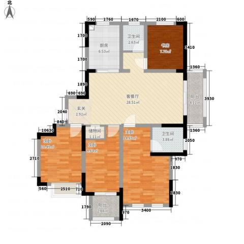 翰庭雅苑4室1厅2卫1厨134.00㎡户型图