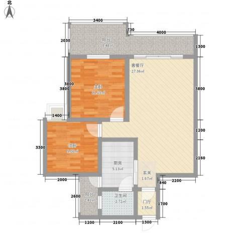 蒸阳御笔华章2室1厅1卫1厨69.94㎡户型图