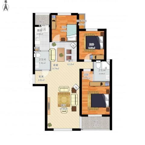 长兴・园湖曲3室1厅2卫1厨120.00㎡户型图