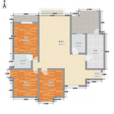 阳光曼哈顿3室1厅2卫1厨123.42㎡户型图