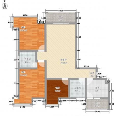 阳光曼哈顿3室1厅2卫1厨104.91㎡户型图