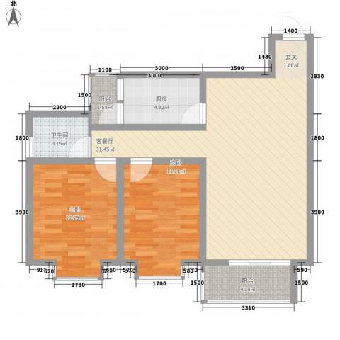 阳光曼哈顿2室1厅1卫1厨79.17㎡户型图