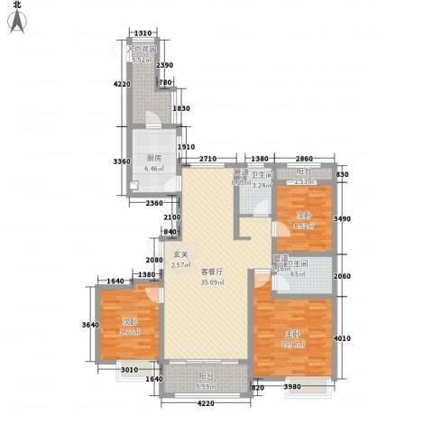 万达华府3室1厅2卫1厨95.70㎡户型图