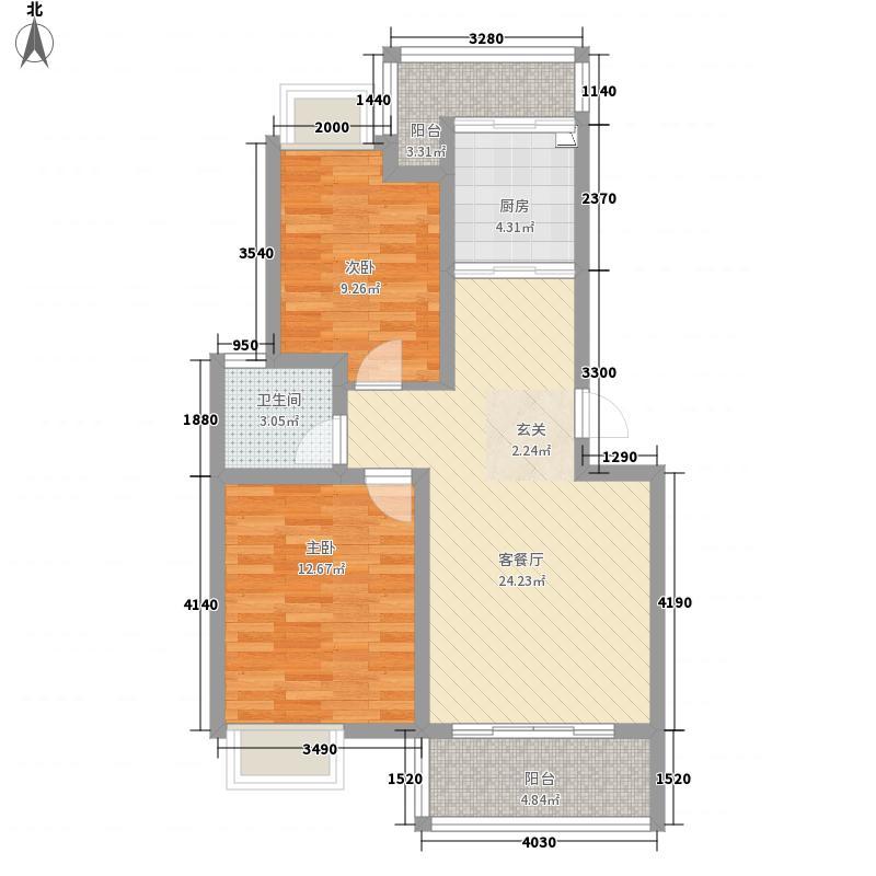 青果・天诚花园81.00㎡4栋B户型2室2厅1卫1厨